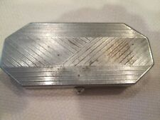 Houbigant Powder Compact Rouge Vanity Case Art Deco Nickel Finish Puff 1930s Vtg