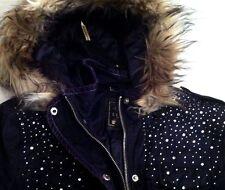 New Lipsy Faux Fur Stone Encrusted Parka Jacket Coat Grey  Navy UK 8 10