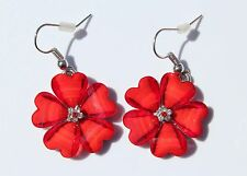 Earring Sparkle Hibiscus Plumeria Heart Flower Dangle Hawaii Luau CZ Red