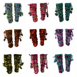 HAND KNIT 100% WOOL CROCHET FUNKY FLORAL TASSEL LEG WARMERS WINTER FLEECE LINED