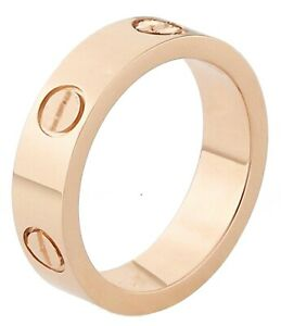 Mens Women stainless steel love ring band rose sliver gold box High Quality 5mm
