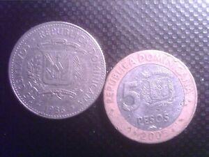 DOMINICAN REPUBIC 25  CENTAVOS 1986   5 PESOS   2005     OCT15