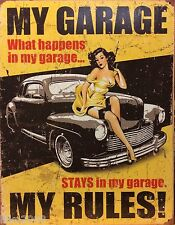 """MY GARAGE, MY RULES/ PIN-UP,  USA,  VINTAGE-STYLE METAL WALL SIGN 12.5""""X 16"""""""