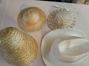 """Lot Of 4 Assorted Straw Large Doll Hats 12"""" doll -  16"""" doll"""