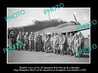 OLD POSTCARD SIZE MILITARY PHOTO WWII BRITISH RAF No 83 BOMBER SQUADRON c1940