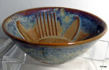 Hand Thrown Bowl Sun Flower Design Blue Brown Signed Bay