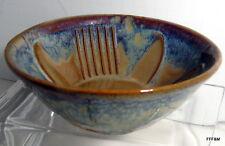Hand Thrown Bowl Sun Flower Design Blue Brown Signed Bay