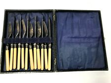 EPNS SHEFFIELD Fish Knife Fork Boxed Set 12 Piece STERLING BANDS Flatware Silver