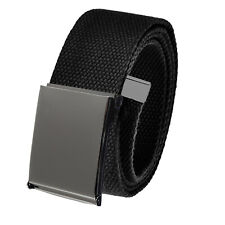 Men's Casual Outdoor Golf Belt Polished Pewter Buckle Adjustable Canvas Webbing