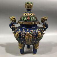 Chinese Palace Cloisonne kylin dragon Longevity god Statue Incense Burner pot