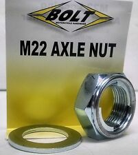 BOLT LOCK STYLE AXLE NUT 22mm x 1.5mm KX125 KX250 KX250F KX450F CRF KXF RMZ YZF