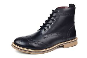 Frank James Bexley Real Leather Lace Up Brogue Mens Boots Black