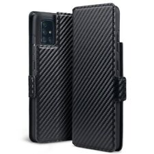 Samsung Galaxy A51 Ultra Thin PU Leather Wallet Card Case in Black Carbon Fibre