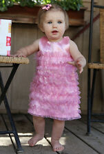 Ruffle Butts Pink Dress Frilly Solid Satin Fancy Party Baby Girls 18m - 24m NWT