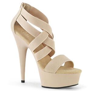 """Pleaser 6"""" nude platform strappy zipper sandals"""