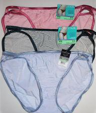 f64ee6c09a 3 Vanity Fair String Bikini Nylon Panty Set Illumination 18108 NWT 8 XL  Striped