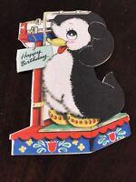 Vintage Hallmark Cards Happy Birthday Penguin Danish Flowers Scale