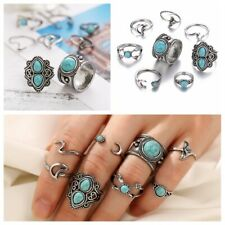 8Pcs Turquoise Women Silver Above Knuckle Fashion Finger Ring Band Midi Rings