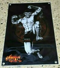 Muay Thai thick canvas banner Bangkok Hard poster skull shorts head band