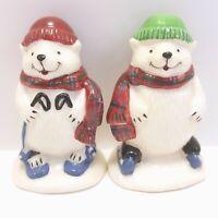 """Pfaltzgraff Snow Bear Individual Salt and Pepper Shakers 2.5"""" Mini Polar Bears"""