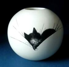 More details for dubout cat round vase cat nap ornament decoration gift idea