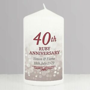 Personalised 40th Ruby Wedding Anniversary Pillar Candle Gift Present Idea