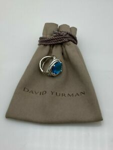 David Yurman Sterling Silver 925  Infinity Blue Topaz 11mm Ring Size 7
