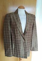 Ladies WALLIS Jacket Size 14 Bronze Dogtooth Smart Evening Blazer