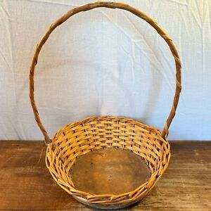 Vintage Flared Round COUNTRY Wooden Cane WICKER Rattan BASKET Handle Board Base