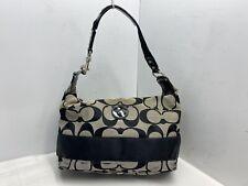 Coach Monogram Hobo Bag F15197 Black And Tan Signature Fabric