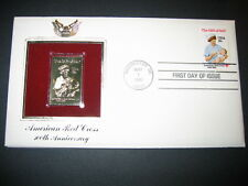 1981 AMERICAN RED CROSS 100TH ANNIVERSARY 22kt Gold GOLDEN Cover replica STAMP