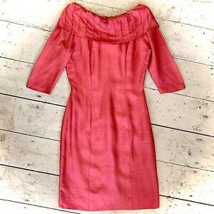 Vintage 1960's Evening Wiggle Dress Scoop Neck Detail  Size 10