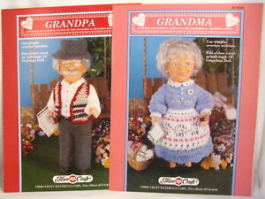 "Grandma and Grandpa 13-14"" Doll Clothes Crochet Patterns Fibre Craft FCM340 341"