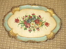 Vintage Oblong Italian Tole Tray Gold w/ Floral Center Italy
