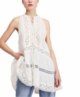 Free People Womens Blouse White Size XS Adelaide Tunic Button-Front $168 420