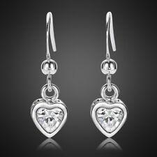 Riva Jewelry Lady Heart Fine Clear Topaz White Gold Plated Earrings Earings