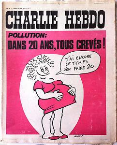 Charlie hebdo n°82 du 12/06/1972 Couverture Wolinski - Pollution