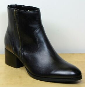 M&S Real LEATHER Leather BLOCK Heel ANKLE BOOTS ~ Size 7 ~ BLACK
