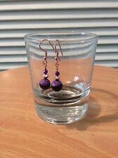 Black  & Purple Fire Agate Drop Earrings. Pierced Ears. Rose Gold plated Copper