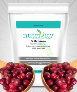 D-Mannose 1000mg Capsules Manufactured UTI Support Supplement Nutrivity UK
