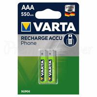 2 x Varta AAA 550mAh NiMH batteries Rechargeable Accu Phone HR03 Micro T397 1.2V