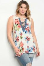 NEW..Stylish Plus Size Ivory Floral Sleeveless Top with Lace Up Front..SZ16/1xl