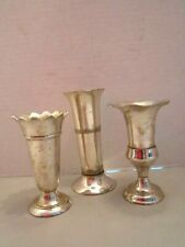 """Lot of 3 Two's company silver plated bud vases. Candle Toothpick Holder 5"""" tall"""