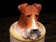 Fox Terrier Porcelain Dog Treat Cookie Jar Ceramic Figurine Quality Holiday Spec
