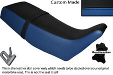 BLACK & ROYAL BLUE CUSTOM FITS SUZUKI TS 250 X 84-89 LEATHER DUAL SEAT COVER