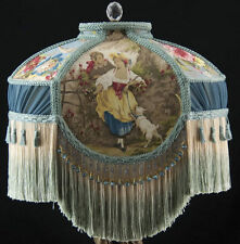 VICTORIAN LAMP SHADE FRAGONARD BLUE FABRIC AND CHIFFON PLEATING, BLUE BEADS WOW!