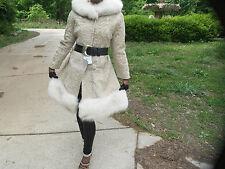 NWT New Cream white cinnamon Broadtail & fox Fur coat jacket stroller bolero S-6