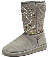 New women's shoes mid shaft boot faux fur lining suede like winter studs Gray