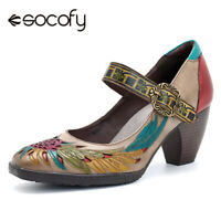 SOCOFY Women Genuine Leather Hollow Out Print Mid Heel Shoes Buckle Ankle Pumps