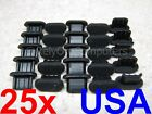 25x Anti Dust Cover Black Flex Soft Plastic Part For Micro USB Port Protection